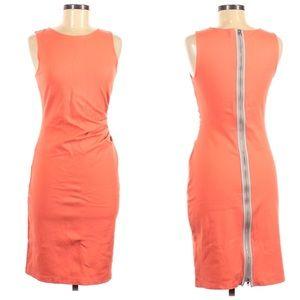 Kenneth Cole Sleeveless Orange Zip Bodycon Dress